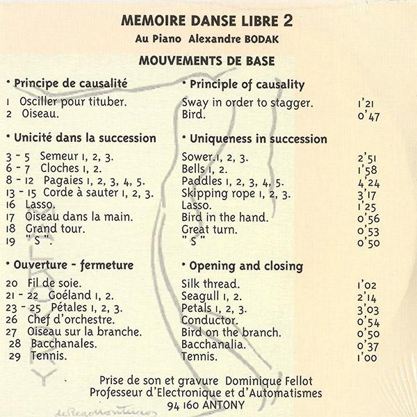 CD Mémoire Danse Libre 2